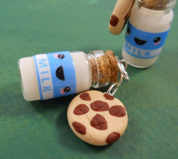 Kawaii Milk and Cookies Bottle Charm - Necklace, Keychain, or Phone Charm