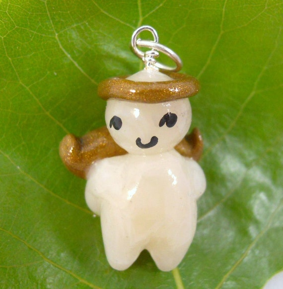 Little guardian angel charm. Polymer clay. Necklace or keychain. Free US shipping.
