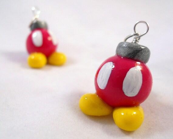 SALE Mario Bros Inspired Bob-omb Buddy Charm - Polymer Clay - Necklace, Phone Charm, Keychain