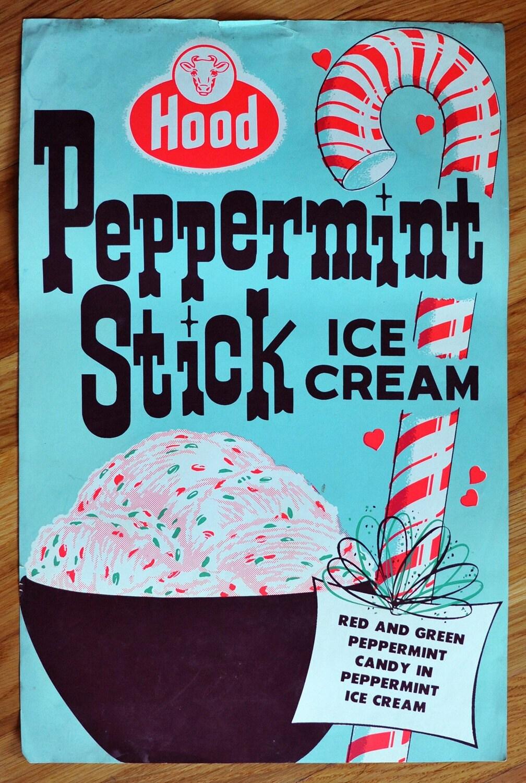 Vintage 1950s Original Peppermint Stick Hood Ice Cream