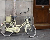 Paris Photography, Yellow Bike in Paris, Brown Door Photo, Tour de France Paris, France - bicycle in Paris- Paris Decor, French Wall Art
