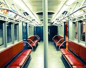 New York City Subway in Red 16x20 Fine Art Photograph - NYC Decor