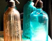Paris Photography, Vintage Seltzer Glass Colorful Bottles, Paris, France ,Acqua Blue, Peachy Orange, Paris Flea Market Art, Fall Decor