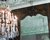 Paris Reflection -  Fine Art Photograph - Paris Photo - Paris Decor - Luxurious Chandelier - Mint green, Rodin, Parisian Architecture
