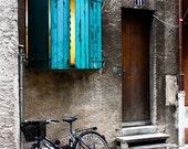 Door 11 - Blue Green Shutters - 8x10 Fine Art Photograph- affordable home decor
