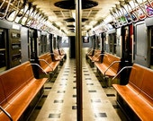 NYC Vintage Subway Train, Train Photography - New York City Subway in Blue and Orange - NYC Subway Art - Boys Room Decor, art for him