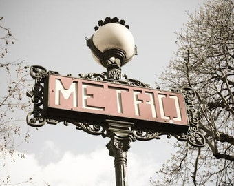 Paris Photography - The Metro Paris, Red Paris Wall Art - French home decor - Paris Decor, Parisian Metro, Classic Paris Photo