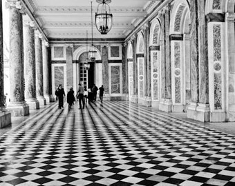 Paris photography - As Seen in Harpers Bazaar Walking in Black and White - French Architecture ,Versailles, France, Paris Photography