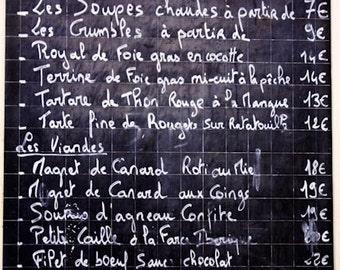 Paris Photography, Classic French menu on a chalkboard, Black and White, Paris Menu, Typography, Kitchen home decor, French Kitchen Art