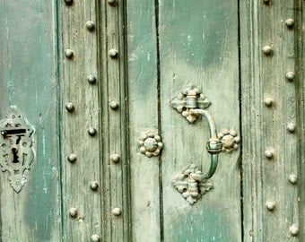 Travel Photography - Mint Green Doors in Southern France - French Wall Art - Door Photography - Mint Green Wall Art, Aix en Provence
