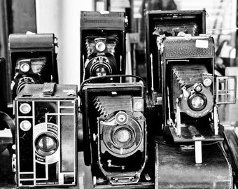 Paris Photography - Vintage Cameras in Black and White - Paris, France, Paris Flea Market Finds, Black and White Photography, Paris Wall Ar