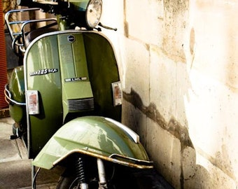 Adventures of a Green Vespa in France, Paris Photography, Vespa Photo, Streets of Paris, Moss Green Wall Art, gift for him, Autumn Decor