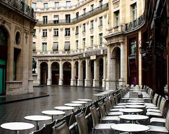 Paris Photography - Rainy Morning in a Paris, France, Paris Architecture, Theatre district, Paris Cafe in the Rain, Parisian Architecture