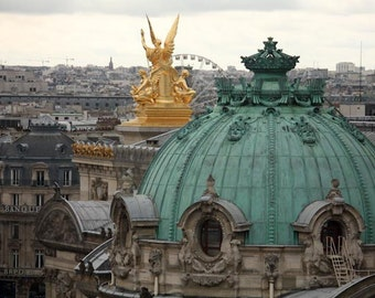 Paris Photography, Mint green, Rooftops, Paris Opera House Garnier, Valentines Day in  Paris, Horitzontal Wall Art , Room decor  Paris Decor