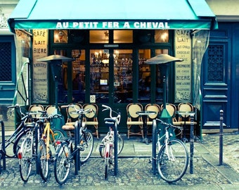 Paris Photography, Paris Cafe in the Marais, Paris Kitchen Art, Cafe Photo, Art Prints, Bike, Blue Paris Decor, Paris Photography Print