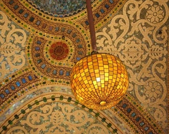 Chicago Photography - Mosaic Ceiling of Marshall Fields on State Street - Chicago, Gold and yellow tones, yellow wall art, chicago history