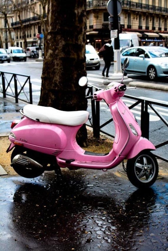 items similar to pink vespa in paris 8x10 fine art photograph pretty in pink paris decor. Black Bedroom Furniture Sets. Home Design Ideas