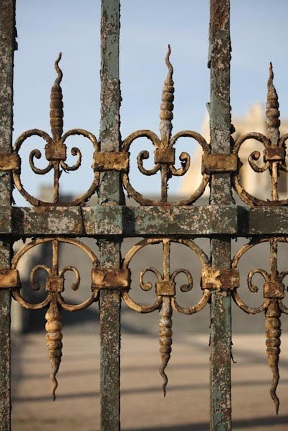 Paris Photography, Gold Gates of Versailles, Versailles France, Gold Wall Art, Paris Print, Office Decor, Rustic Gold, Shabby Chic