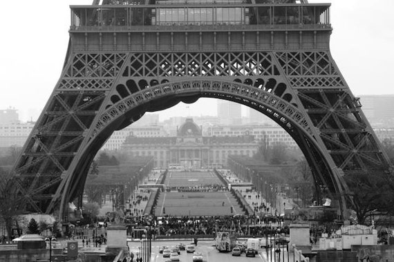 Black and White Photography, Under le tour eiffel, Architecture Photography, French Architecture,Trocadero, Champs de Mars, Paris Home Decor