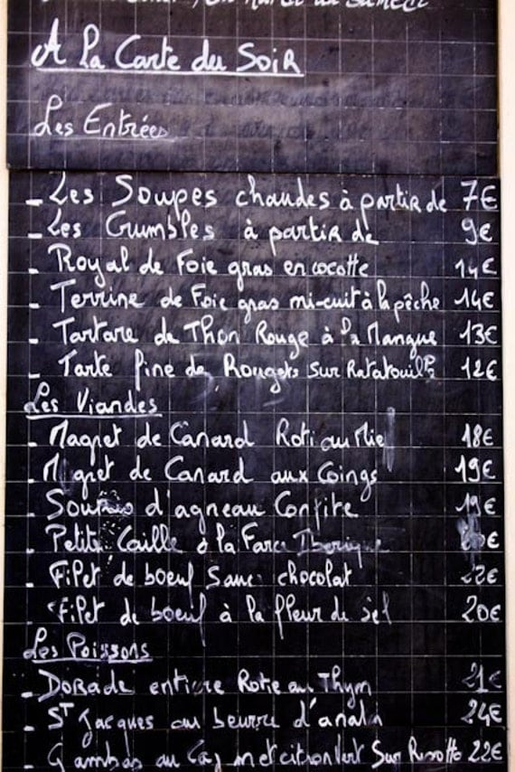 Paris Photography, Classic French menu on a chalkboard, Black and White, Paris Menu, Typography, Kitchen home decor, French Kitchen Art