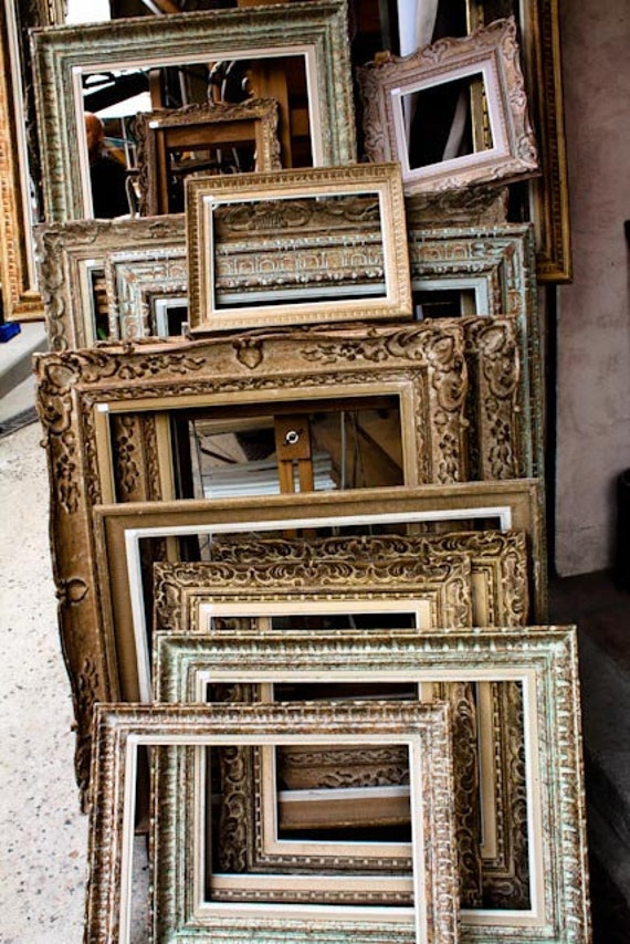 Paris Photography, Antique Frames in Paris, Golden Brown, Flea Market Shopping in Paris, Golden Brown, French Market,Autumn Hues