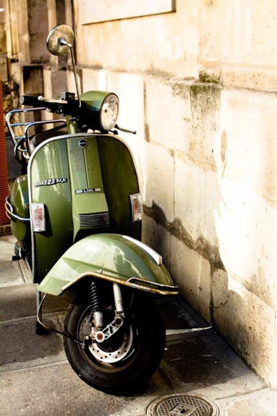 items similar to adventures of a green vespa in france paris photography vespa photo streets. Black Bedroom Furniture Sets. Home Design Ideas