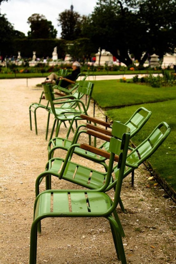 Emerald Green, Paris Photography ,Chairs in the Tuileries ,Paris Gardens, French home decor