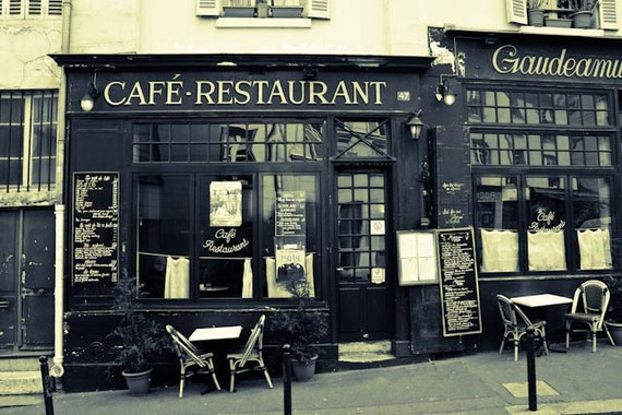 Paris photography paris cafe and restaurant kitchen wall for Black and white paris wall mural