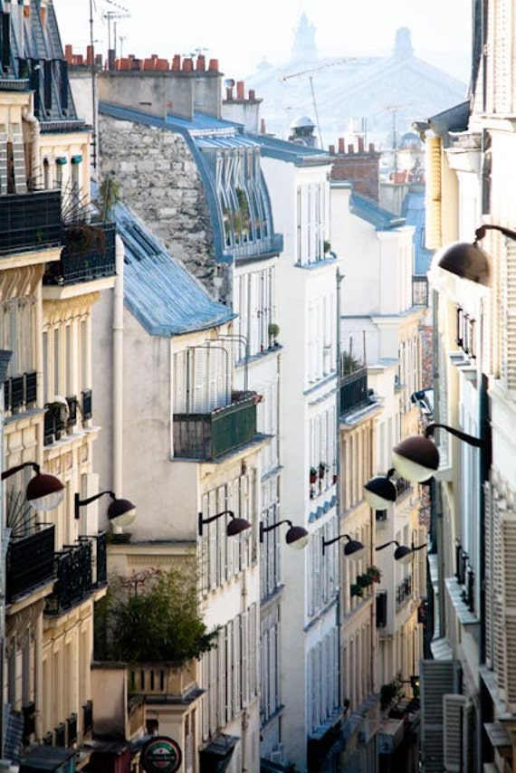 Paris Photography, Romantic Rooftops of Montmartre, soft blue and grey tones, Paris, France, French Wall Decor, Opera House