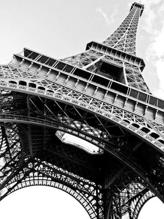Black and white photography eiffel tower in paris france for Eiffel tower wall mural black and white