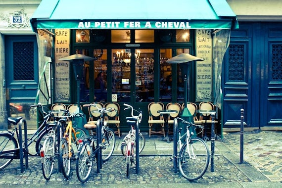 Paris Cafe in the Marais, Winter in Paris, Cafe Photo, Art Prints, Bike, Paris Photography, Blue Paris Decor, French Kitchen Art