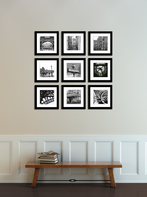 Paris photography paris france in black and white print set for Black and white paris wall mural