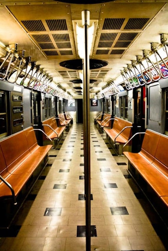 NYC Vintage Subway Train, Train Photography - New York City Subway in Blue and Orange - NYC Subway Art - Boys Room Decor, art for him