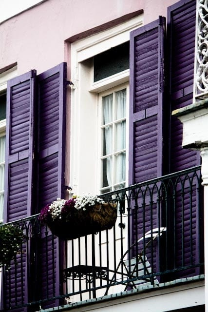 Plum purple balcony in the french quarter new orleans for Balcony wall decoration
