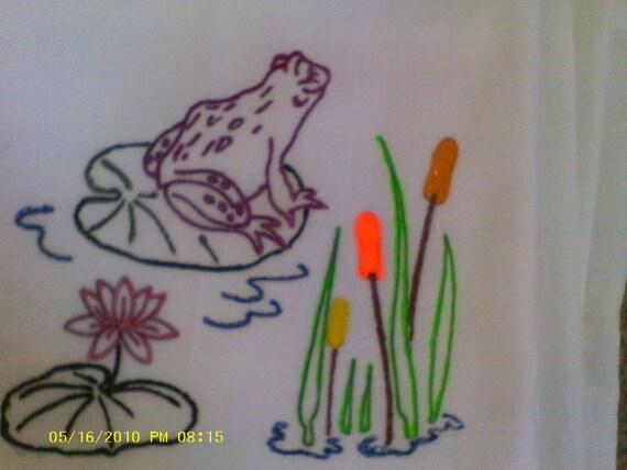 Whimsical Burgundy Frog on Lily Pad Flour Sack Dish Towel