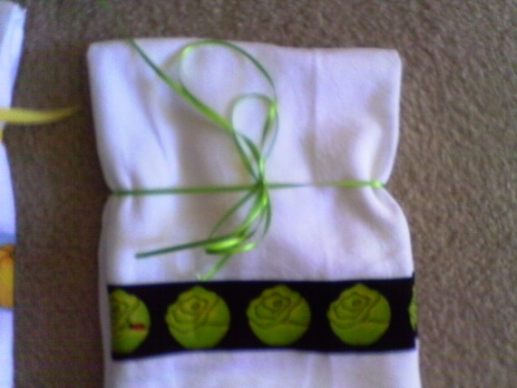Flour Sack Dish Towel With Lettuce and Lady Bugs