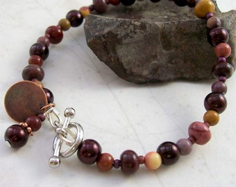 "Burst of Energy Mookaite Bracelet - Silver - Handmade OOAK - 7"", Free US Shipping, Healing Gemstones, Gift for Her or Him, Grounded Energy"