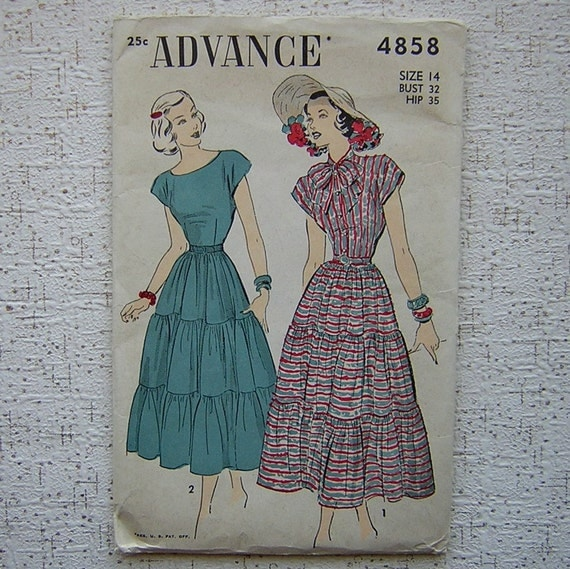 1948 Buttons n Bows with Tiered Skirt Dress - Advance Unprinted Sewing Pattern 4858 - 32\/26.5\/35