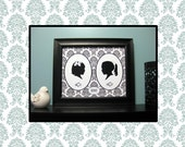 Two Custom Silhouette Portraits in One Framed Art Print - Unique Holiday Gift - Trending - Framed Art
