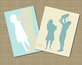 Full Figure Silhouette - Custom Full Body Silhouette Portrait - Unframed CUT Silhouette - Holiday - Daddy Daughter Silhouette   trending