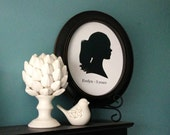 Custom Silhouette Portrait - Oval Framed 8x10 Art Print - Unique Present for loved ones for any holiday!