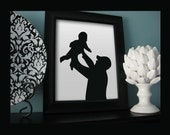 Custom Full Body Silhouette Portrait - Framed  8x10 Art Print - Beautiful Family Holiday Gift - Father's day