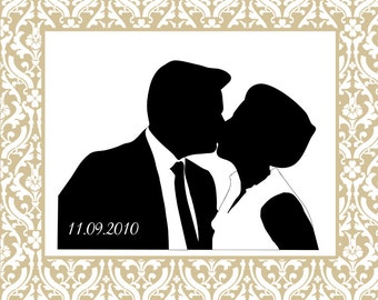 Custom Cut Wedding Silhouette - 8x10 -  Just e-mail me your photo and I do the rest - CUT WEDDING PORTRAIT