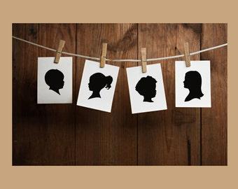 Custom Silhouette Portrait - Unframed Art Print - Various Sizes - Traditional Gift - Holiday Gift