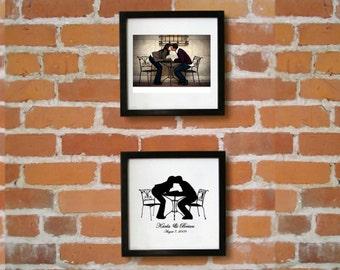 Custom Silhouette Full Body Engagement / Wedding Couple Portrait - Unframed 8x10 Art Print - Trending