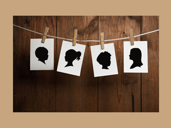 Custom Silhouette Portrait - Unframed 4x6 or 5x7 Art Print - Traditional Gift - Holiday Gift