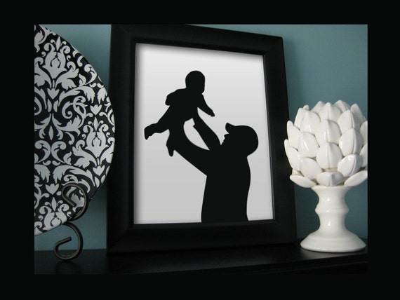 Custom Full Body Silhouette Portrait - Framed  8x10 Art Print - Beautiful Family Holiday Gift - Mothers day