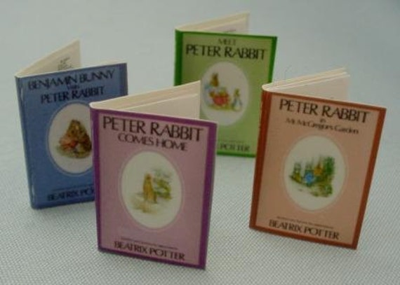 Set of Four Miniature Peter Rabbit Books with Colorful Printed Pages