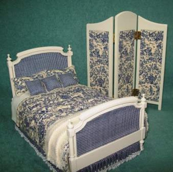 Miniature French Toile Custom Dressed Bed with Screen