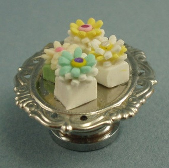 CLEARANCE ITEM - Miniature Silver Cake Stand Filled with Cakes